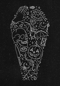 Halloween Horrors coffin art by Corinne Alexandra. Halloween Horror, Halloween Art, Halloween Tattoo Flash, Halloween Coffin, Halloween Poster, Vintage Halloween, Desenhos Halloween, Flash Art, Halloween Wallpaper