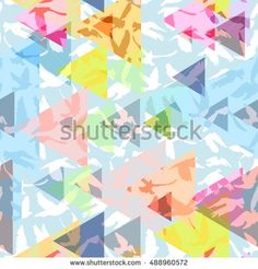 Abstract triangles Doves and pigeons silhouette seamless pattern decorative geometric contemporary pink yellow blue print, hipster trendy backdrop. for peace concept and wedding design. Vector