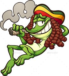Illustration about Frog with rasta hair, smoking a joint . Vector clip art illustration with simple gradients. All in a single layer. Illustration of weed, frog, mariguana - 107087554 Smoke Drawing, Drawing S, Rasta Tattoo, Weed Tattoo, Tengu Tattoo, Character Illustration, Illustration Art, Cartoon Smoke, Rasta Art