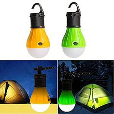 UPmall Tent Camping Lamp Night Light Portable Lantern Outdoor Waterproof Emergency Bulb by 3 AAA Battery for Hiking Sailboats Cockpit Outages 1 Pair Green  Yellow ** Check out this great product.