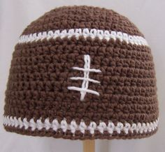 Free Crochet Pattern - Football Beanie Chemo Hat     I've had a couple people ask me for a beanie version of the Slouchy Football Hat .  ...