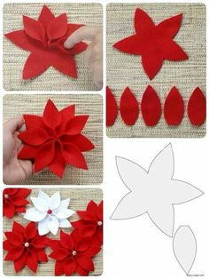 9 Best Images of Poinsettia Flower Template Printable - Paper Poinsettia Petal Template, Flower Shape Cut Out Template and Template for Felt Poinsettia FlowerFelt Poinsettia Pattern AND directions for a really cool poinsettia wreath for Christmaswate Felt Christmas Decorations, Felt Christmas Ornaments, Christmas Paper, Christmas Poinsettia, Felt Flowers Patterns, Fabric Flowers, Paper Flowers, Diy Flowers, Paper Dahlia