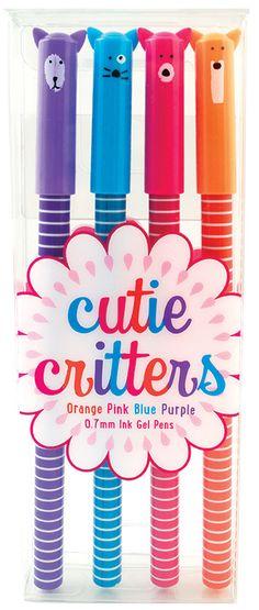 "Cute animal gel pens? We got 'em. Cutie Critters Gel Pens is a set of 4 wildly fun colored gel pens with animal designs. What do Cutie Critters says? ""Baa,"" Squeak,"" ""Grrr,"" and we're not so sure abou"