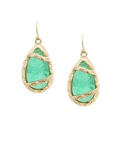 Caged Geode Drop Earrings - Mint  $7.50