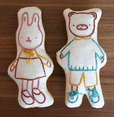 bunny & bear embroidered stuffed softies