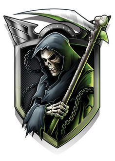 Keeping you locked and loaded with Military style temporary tattoos is our game. In our second series of tactical temporary tattoos we have upgraded our fire power and brought in attack dogs. You will always be prepared with these temporary tattoos! Don't Fear The Reaper, Grim Reaper Art, Grim Reaper Tattoo, Dark Fantasy Art, Dark Art, Tatuaje Grim Reaper, Monster Pictures, Skull Pictures, Game Logo Design