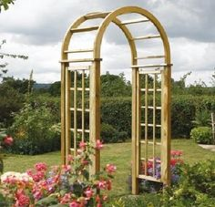 Garden Arch Wooden Round Top Roses Climbers Wooden Heavy Duty Rot Resistant