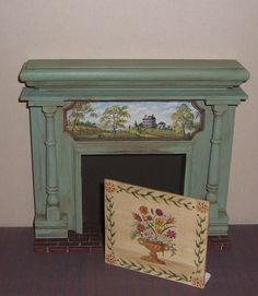 Dollhouse Miniature Hand Painted Prim Folk Fireplace Mantel Fireboard OOAK in Dolls & Bears, Dollhouse Miniatures, Other Dollhouse Miniatures | eBay