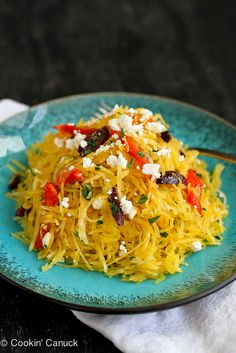 Mediterranean Spaghetti Squash Recipe with Feta Cheese & Roasted Peppers | cookincanuck.com #vegetarian by CookinCanuck, via Flickr