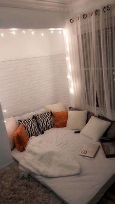 for more like this follow @hopeelietz Cute Room Decor, Teen Room Decor, College Bedroom Decor, Small Room Bedroom, Room Ideas Bedroom, Bedroom Inspo, Cozy Small Bedroom Decor, Bedroom Ideas For Small Rooms For Teens, Bedroom Decorating Ideas