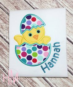 Easter Chick-Easter Egg Personalized Appliqued by HMembroideryCo