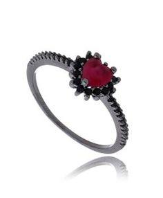 anel de coracao rodio negro com zirconia rubi semi joia