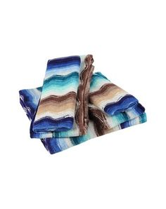 Morgan  Towel  MISSONI HOME   $286 Set of 5 cotton towels.  A home design project that follows the thread of fabric and its thousand material faces. From living rooms to lounges, bathrooms, bedrooms, terraces and conservatories. The collection designed by Rosita Missoni, where craftsmanship combines with a great sense of color, stands out for its bright character and creative spirit. The inspiration and emotion of fashion is transferred to the home in Missoni's view of design. #yooxmas #yoox