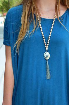 Sea Stone Tassel Necklace – Groovy's