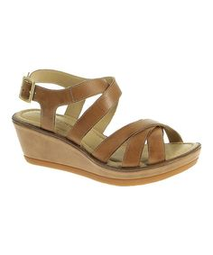 Look at this Hush Puppies Tan Leather Roux X Wedge Sandal on #zulily today!