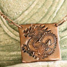 Dragon Pendant Necklace, Mens or Unisex, Copper, Handmade | ShanghaiTai - Jewelry on ArtFire