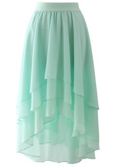Macaron Mint Asymmetric Waterfall Skirt