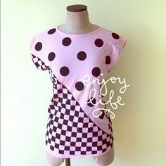 Vintage polka dot tee shirt Nwot.Cute and fun pink tee covered with black polka dots and checkers.Regular length. 100%combed cotton. Shirtique Tops Tees - Short Sleeve