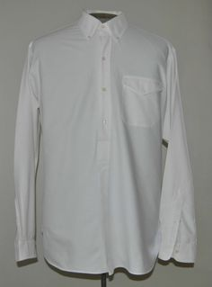 Men's Size Large Ralph Lauren Polo White Pull Over Dress Shirt 100% Cotton LS