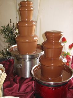 "27"" Fountain with Milk Chocolate and 18"" fountain with Dark Chocolate"