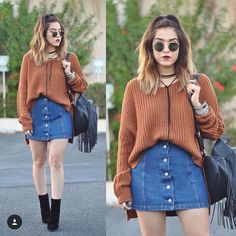 Fall perfection from fashion blogger and babe @rubilove FT. @lacedinlude Denim Button down skirt. 🍂🍁 #LACEDINLUDE #FALL #LOOKBOOK