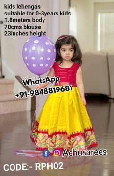 Ikkat pure silk lehenga with blouse. Age - 0 to 3 years at (PID: Ikkat pure silk lehenga with blouse. Age - 0 to 3 years. Kids Dress Wear, Kids Gown, Dresses Kids Girl, Kids Wear, Kids Outfits, Kids Indian Wear, Kids Ethnic Wear, Kids Party Wear, Kids Blouse Designs