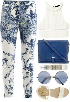 white and blue summer outfit