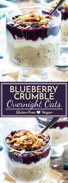 Wake up to a jar full of these healthy blueberry overnight oats loaded with good-for-you chia seeds, yogurt, and fresh blueberries and then topped with a crunchy pecan crumble! Oats Healthy Blueberry Overnight Oats with Chia Seeds & Yogurt Breakfast And Brunch, Breakfast Recipes, Mexican Breakfast, Breakfast Sandwiches, Breakfast Pizza, Breakfast Bowls, Breakfast Cookies, Breakfast Smoothies, Breakfast Ideas