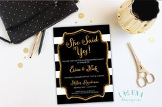 Engagement Party Invitation, Black and White Stripe Engagement Party Invite, Gold Glitter Invitation, Engagement Dinner, DIY Printable