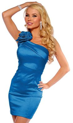 Designer Inspired One Shoulder Evening Cocktail Formal Party Sexy Mini Dress on hotgirlsclothes.com