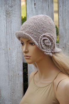 Crochet beige hat Handmade Cloche Hat Cloches Knit by Degra2