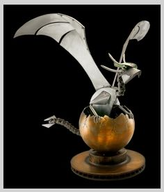 Hatching dragon metal sculpture- He's so cuuuuuuute!