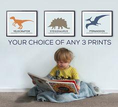 Toddlers room decor DINOSAUR prints big by LittleGrippersStore