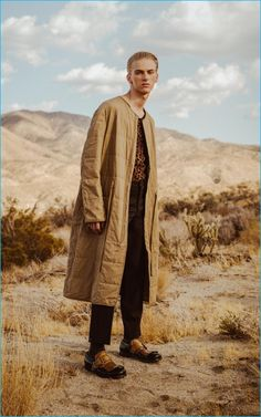 Ben Grieme photographs Dominik Sadoch in Pringle of Scotland trousers, Prada leather shoes, as well as a Loewe quilted coat and leopard print tank.
