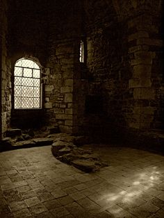 Interior ruins of a chamber from a medieval castle. It feels drafty from here. Chateau Medieval, Medieval Castle, Medieval Fantasy, Medieval Tower, Old Buildings, Abandoned Buildings, Abandoned Castles, Abandoned Places, Inside Castles