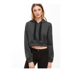 SheIn(sheinside) Dark Grey Drop Shoulder Crop Hoodie ($24) ❤ liked on Polyvore featuring tops, hoodies, cropped hoodies, crop top, pullover hoodie, cotton pullover hoodie and hooded pullover sweatshirt