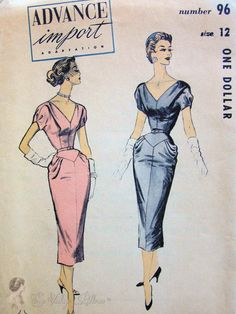 50s+Figure+Show+Off+Evening+Dress+Pattern+Low+V+by+SoVintageOnEtsy,+$135.00