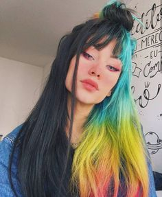 59 Amazing Dyed Hair for Winter Style - Samantha Fashion Lif.- 59 Amazing Dyed Hair for Winter Style- – - Hair Inspo, Hair Inspiration, Design Inspiration, Pelo Multicolor, Coloured Hair, Grunge Hair, Cool Hair Color, Weird Hair Colors, Two Color Hair