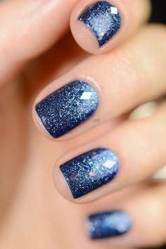 Blue holographic glitter nail polish. #GlitterHair #GlitterNails