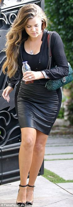Khloe Kardashian l All black everything (with a green chanel bag) workwear