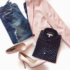 Pink & Navy & Polka Dots outfit | Zara | Banana Republic | Designing Gal