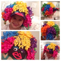 Baseball cap, hot glued curling ribbons from dollar store, made a face on brim out of googly eyes and pipe cleaners. Wacky Hair Days, Dr Seuss Day, Dr Suess, Dinosaur Hat, Rainbow Headband, Red Ribbon Week, Crazy Hat Day, Silly Hats, Dress Up Day