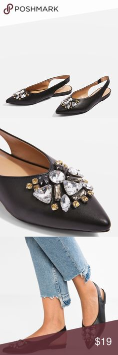 AVA Gem Slingback Shoes | NEW These slick black flat slingback shoes are a statement style. Featuring a stretchy strap and elegant toe point, the gorgeous gem embellishments add a touch of sparkle. Upper: Textile. Specialist clean only. Topshop Shoes Flats & Loafers