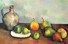 Paul Cézanne.  Stillleben, Krug und Früchte. 1893-1894, Öl auf Leinwand, 43,2 × 62,8 cm. Privatsammlung. Frankreich. Postimpressionismus.  KO 01199