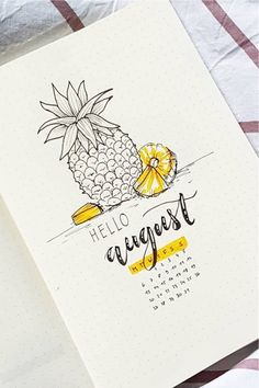 If you want to change up the look of your bujo or start a new theme check out these pineapple bullet journal weekly spreads monthly layouts and cover pages for inspiration! Bullet Journal August, Bullet Journal Cover Ideas, Bullet Journal Writing, Bullet Journal School, Bullet Journal Aesthetic, Bullet Journal Ideas Pages, Bullet Journal Spread, Bullet Journal Inspiration, Junk Journal