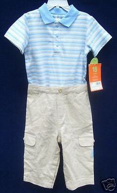 CARTER'S Pants Set 18 mo. 2-pc Blue White Tan Multi-Color Short Sleeve Spring #Carters #OutfitsSets