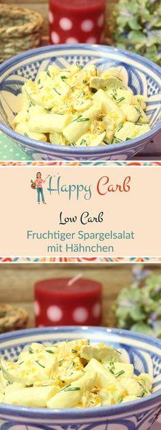 Fruity asparagus salad with chicken - Low Carb Fleisch Rezepte von Happy Carb - Salat Asparagus Salad, Asparagus Recipe, Chicken Asparagus, Grilling Recipes, Meat Recipes, Low Carb Recipes, Healthy Recipes, Salad Recipes, Chicken