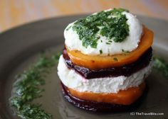 Carmelized Sweet Potato and Goat Cheese Salad 2 large sweet potatoes 3 large beets 1 bunch cilantro ½ cup sunflower seeds 1 lemon (for juice...