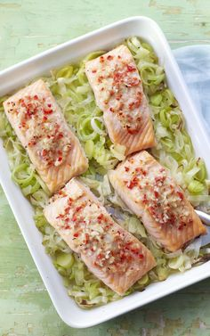 Brighten up your weekday salmon with lemony yuzu and leeks.not sure about yuzu but like the bed of leeks☺ Leek Recipes, Fruit Recipes, Salmon Recipes, Fish Recipes, Seafood Recipes, Cooking Recipes, Healthy Recipes, Salmon Meals, Bbc Recipes