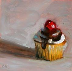 Cherry on Top, cupcake painting,Debbie Miller